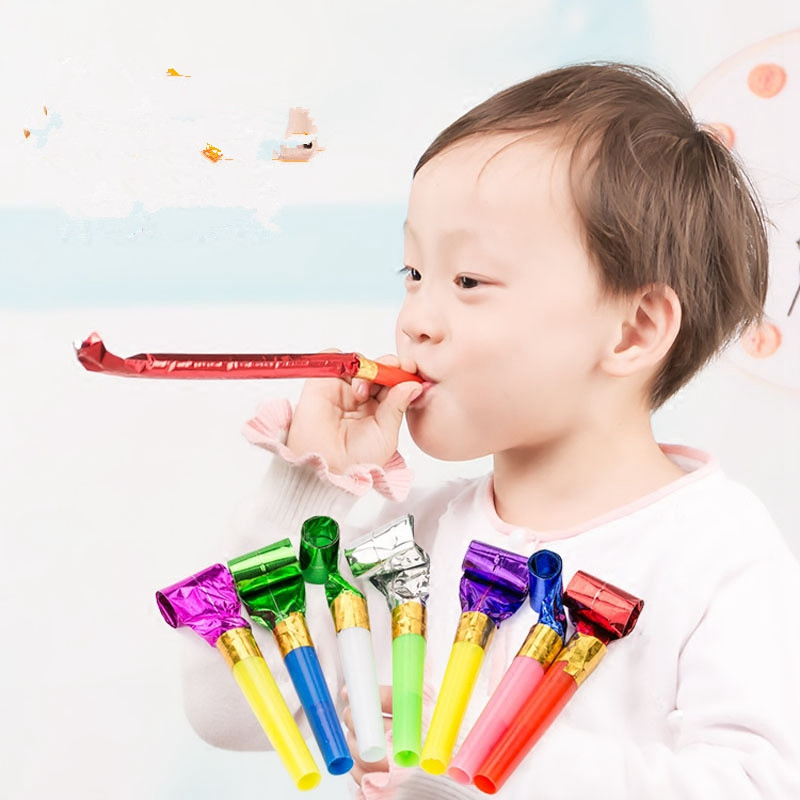 20pcs / Pack Children's Party Roll Paper Outbreak Whistle Party Like Kids Birthday Party Funny Props Noise Maker Toy Party Gift