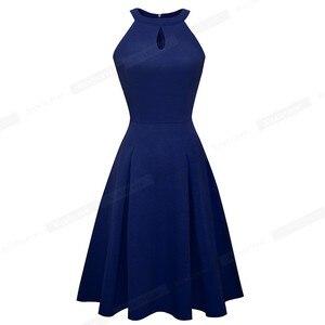 Image 4 - Ładny na zawsze Vintage Casual Pure Color vestidos z dziurka od klucza A Line kobiety sukienki rozkloszowane A195