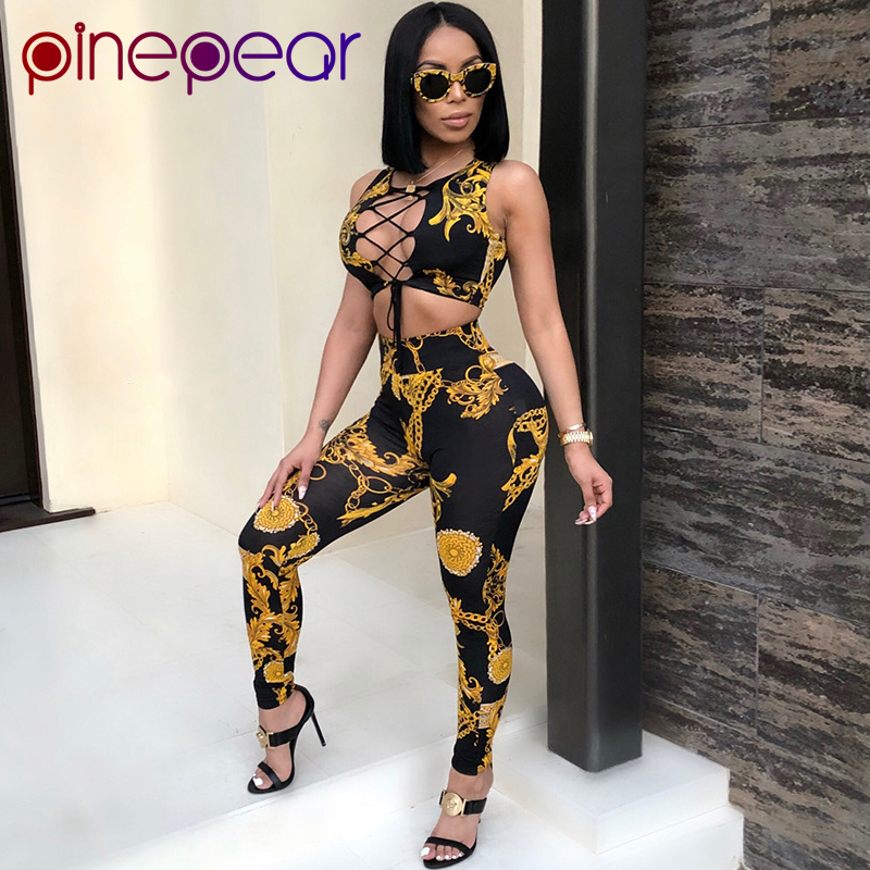 PinePear Gold Chain Print Floral Lace Up Bandage Crop Tank Top And Pants 2 Piece Set Women Two Piece Outfits 2020 Dropshipping
