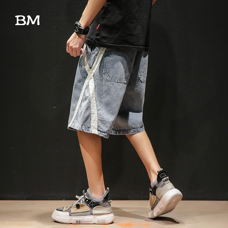 Summer Japanese Streetwear Denim Shorts Men Fashion Overalls Shorts 2020 Plus Size Korean Style Loose Casual Baggy Pants Male