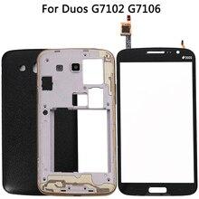 Per Samsung Galaxy Grand 2 II Duos G7102 G7106 custodia cornice centrale batteria Cover posteriore + pannello digitalizzatore Touch Screen