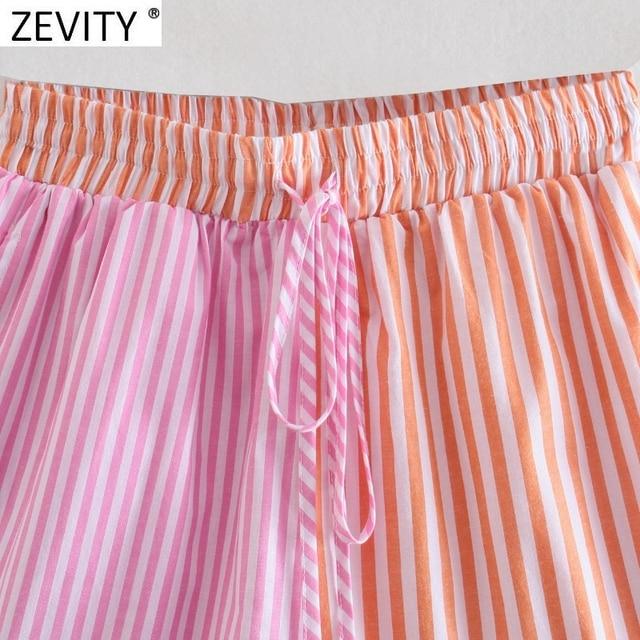 Zevity Women Fashion Patchwork Striped Print Casual Hot Bermuda Shorts Female Chic Elastic Waist Summer Pantalone Cortos P1086 3