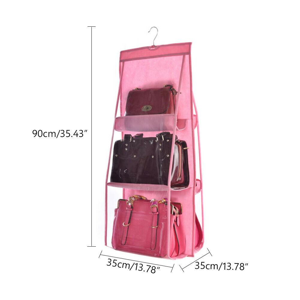 H331842bc8d384d1188763329ea3984e6o - 6 Pocket Foldable Hanging Bag 3 Layers Folding Shelf Bag Purse Handbag Organizer Door Sundry Pocket Hanger Storage Closet Hanger
