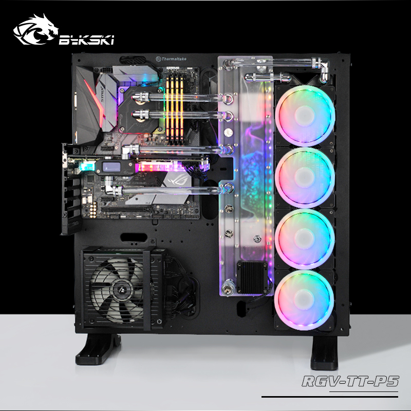 BYKSKI Acrylic Board Water Channel Solution use for ThermalTake/Tt Core P5 for CPU GPU Block / 3PIN RGB / Instead of Reservoir