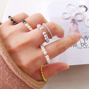 DMRFP002 anillo de perlas 925 Plata de Ley 3-4mm anillos de perlas naturales de agua dulce para mujeres