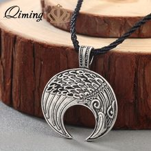 QIMING Stile Punk Gioelleria raffinata e alla moda Degli Uomini di Raven Vichingo Lunula Pendente Amuleto Crescent Moon Norse Slavo Fertilità Pagano Collana(Hong Kong,China)
