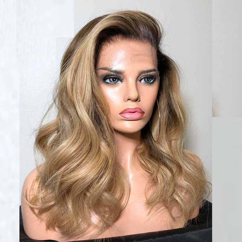 Soft Full Lace Ombre Blonde Human Hair Wigs With Baby Hair Two Tone Brazilian Natural Wave Remy Hair Bleached Knots