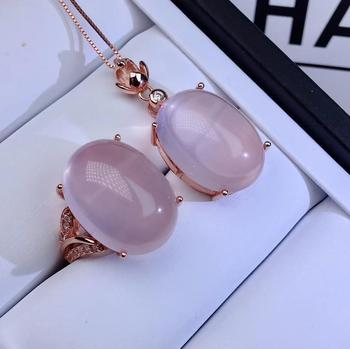 big size light pink color Rose Quartz gemstone ring and necklace jewelry set 925 sterling silver natural gem girl birthday gift