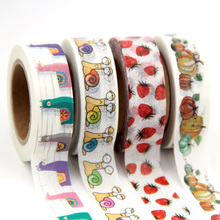 купить 15mm X 10m Cute Lotkawaii Fruit food animals Decorative Washi Tape DIY Scrapbooking Masking paper Tape School Office Supply дешево