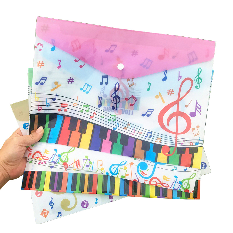 12Pcs Kawaii Music Piano File Folder A4 Document  Desk Organizer Paper Student Storage Bag  Office School Supplies Stationery