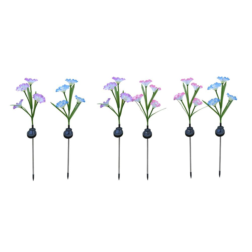 2pcs Solar 4LED Lamp Morning Glory Rose Tulip Decoration Simulation Colorful Changing Lawn Light Outdoor Garden Height 73 Cm