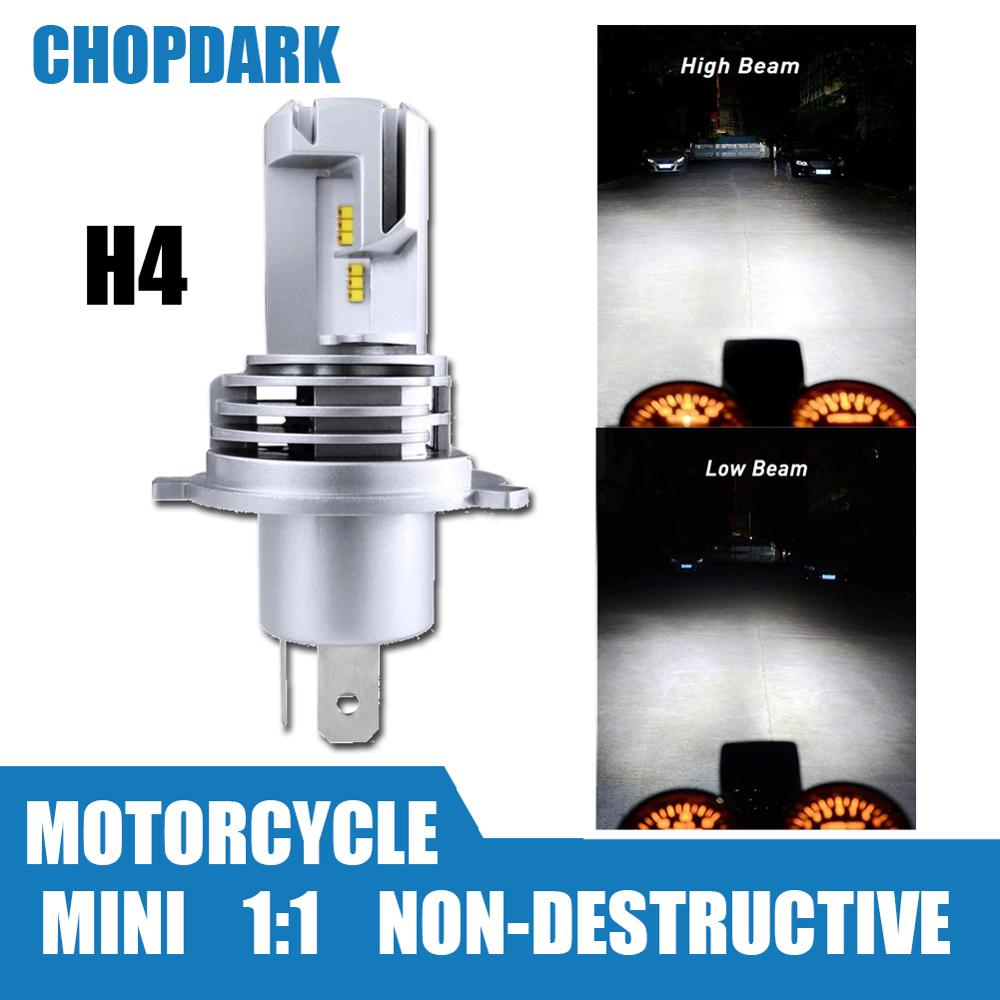 H4 Motorcycle LED Headlight Bulb Bright M3 Mini High Low Hi Lo Beam ZES Chips 25W 4800LM 6000K Wireless Direct Plug-in