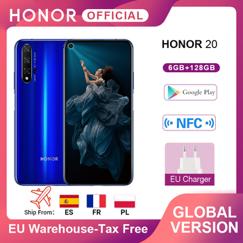 In Stock Global Version Honor 20 Smartphone 6G128G Kirin 980 Octa Core 6.26''48MP Four Cam Cellphone Google Play SuperCharge NFC