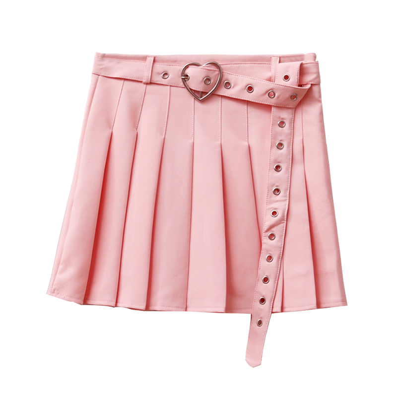 2020 New Summer Women Mini Skirts High Waist Harajuku Cute Sweet Pleated Skirt Student Pleated Skirt With Heart Belt 4 Colors
