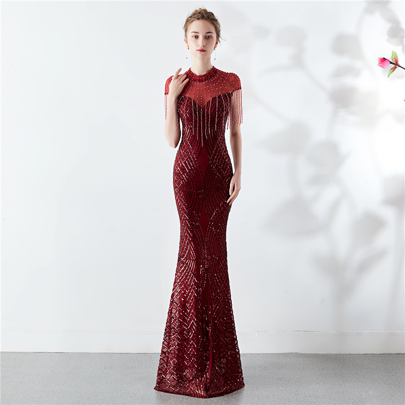 Short-sleeved Sequined Evening Dress 2020 High Neck Luxury Fringed Elegant Long Party Dresses Formal Mermaid Gown Robe De Soiree