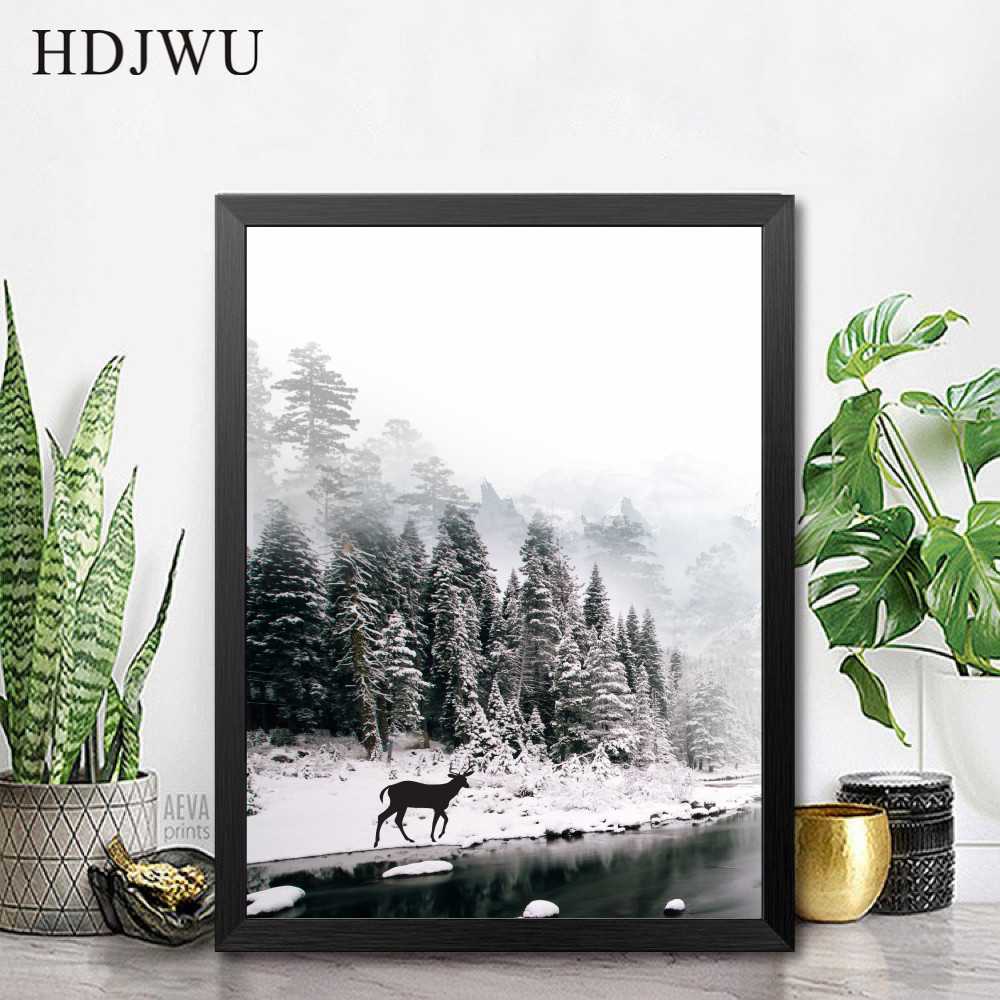 Simple Nordic Canvas Painting Wall Picture Triad Decoration Dlk Mist forest Printing Wall Poster for Living Room AJ00296 in Painting Calligraphy from Home Garden