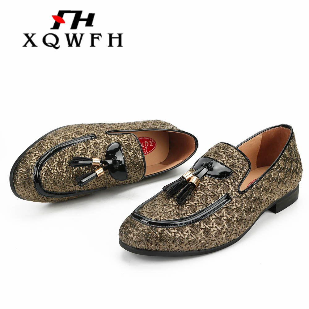 mens gold casual slip on loafers metal buckle patent leather nightclub shoes Sz
