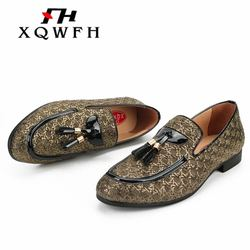 XQWFH Men Wedding And Party Shoes Luxury Brand Braid Leather Casual Driving Men Loafers