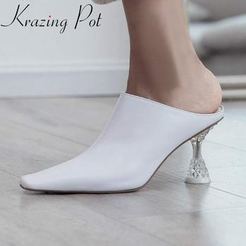 Krazing pot limited large size full grain leather square toe high heels women slip on mules summer deep mouth modern pumps L10