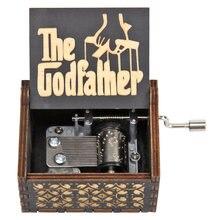 Preto padrinho manivela de madeira do vintage caixa de música de madeira antigo manivela caixa de música clockwork decoração da sua casa