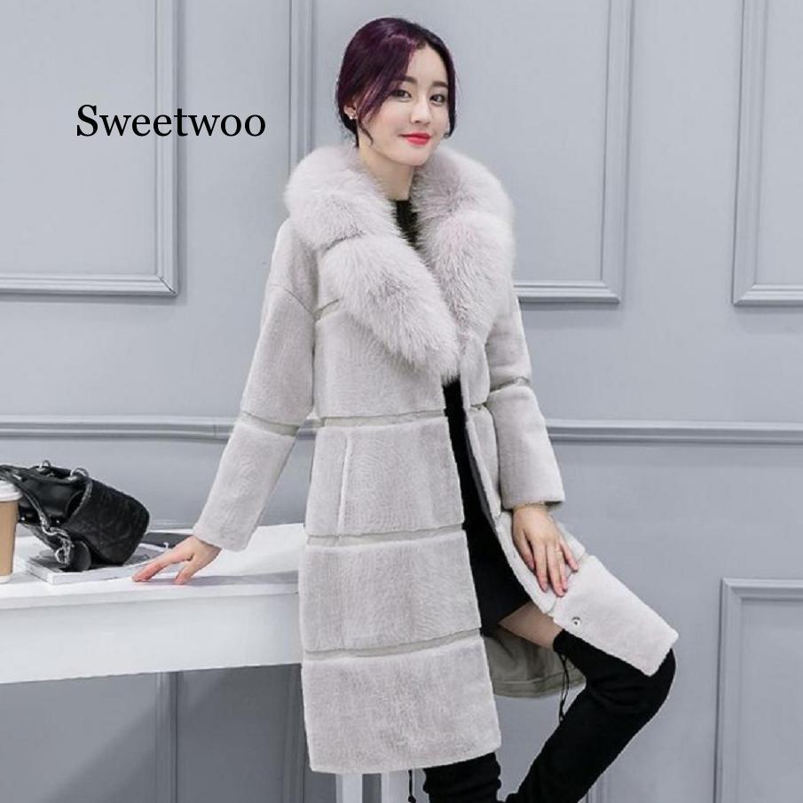 Winter new women's faux fur coat warm sheep shears jacket imitation fox fur collar coat oversize outwear