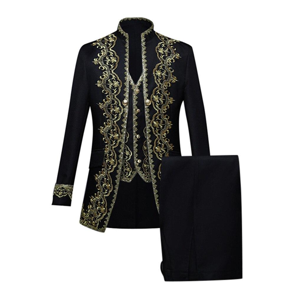 Mens European Suit Style Court Costumes Prince Stage Uniforms Performances Luxury Men Clothing White England Style Men Suit