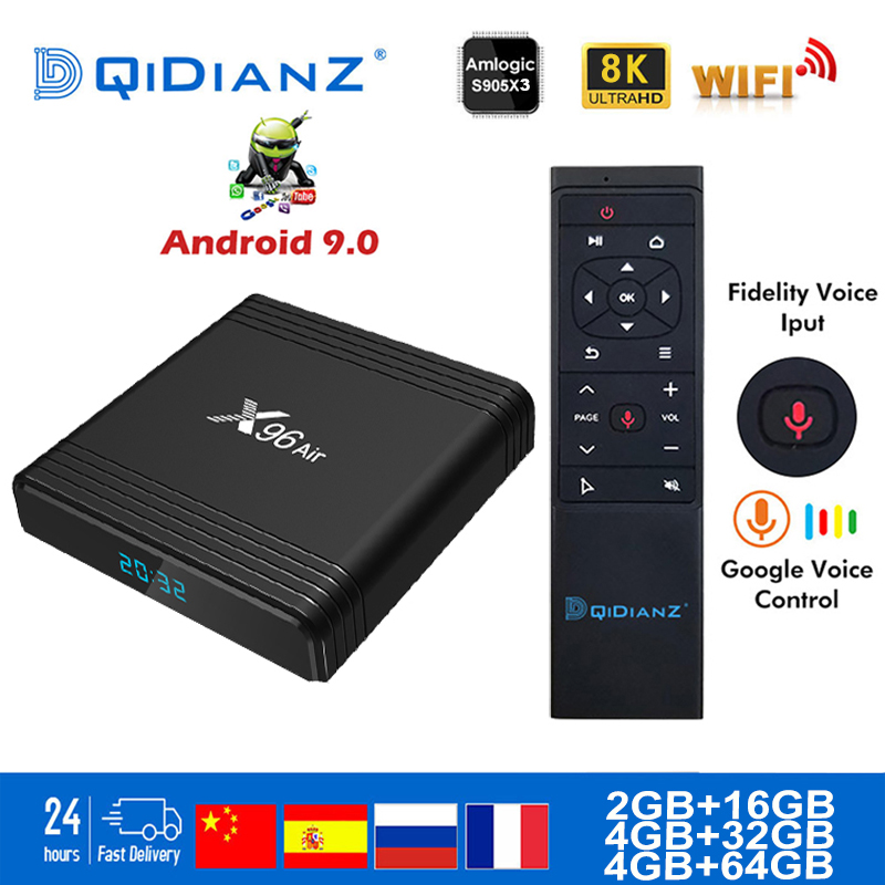 Caixa de tv inteligente x96air android 9.0 8 k duplo wifi bt netflix media player play store aplicativo gratuito conjunto rápido caixa superior x96 ar pk hk1max h96