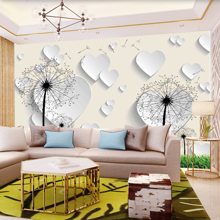 Modern Minimalist Background Of Television In The Drawing Room Wallpaper Abstract Elegant Magnolia Dandelion Mural Hotel Sofa