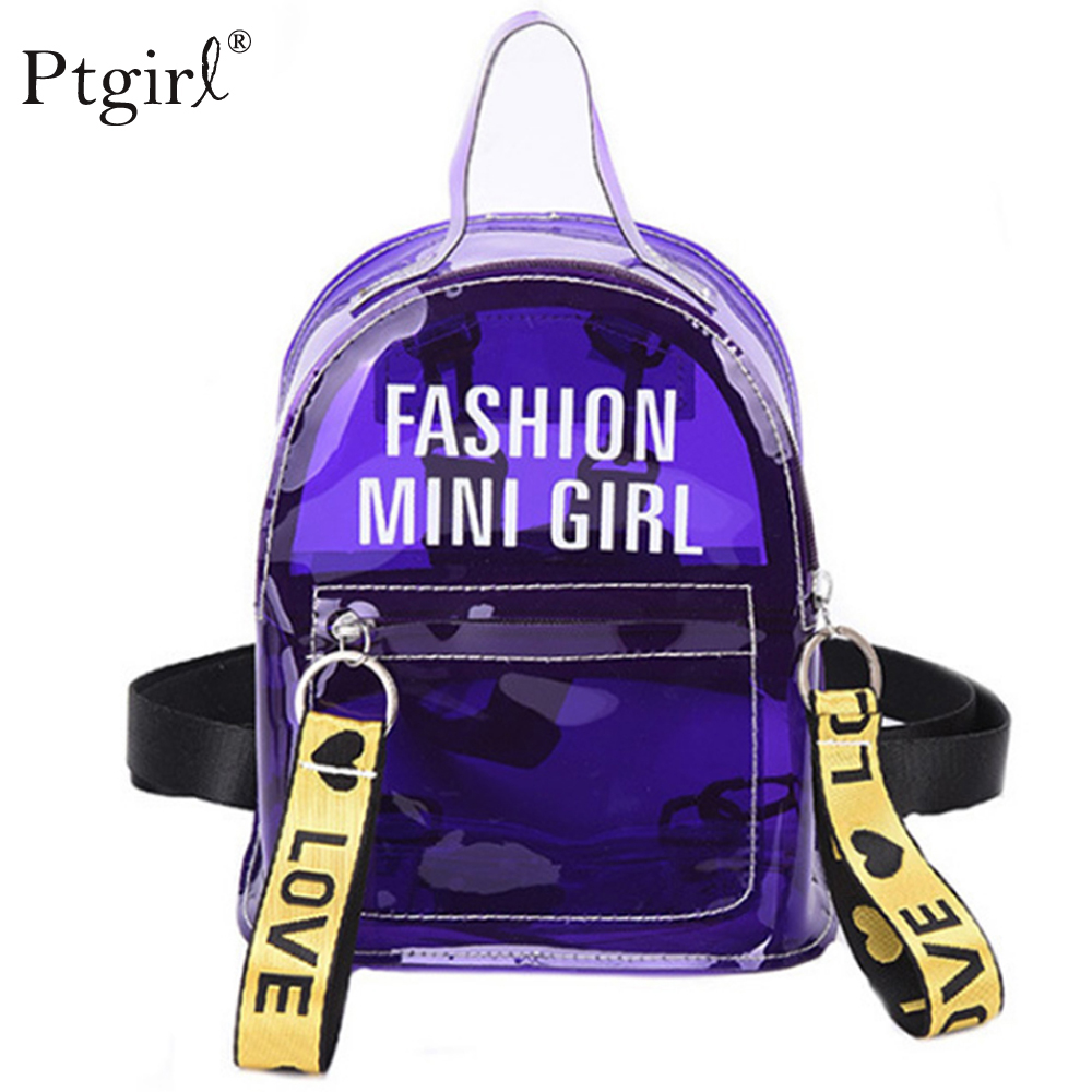 2019 Trendy New Women Jelly Sac  Backpack Phone Bag Ptgirl Female Clear Mini Phone Backpack Transparent Girl Crossbody  Backpack