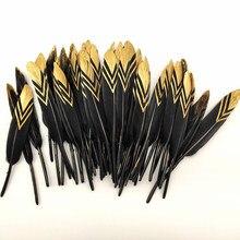 Plumes de canard noir en or naturel, 10/50 pièces, pour artisanat, décoration de fête de mariage, bricolage, fabrication de bijoux, 10-15cm
