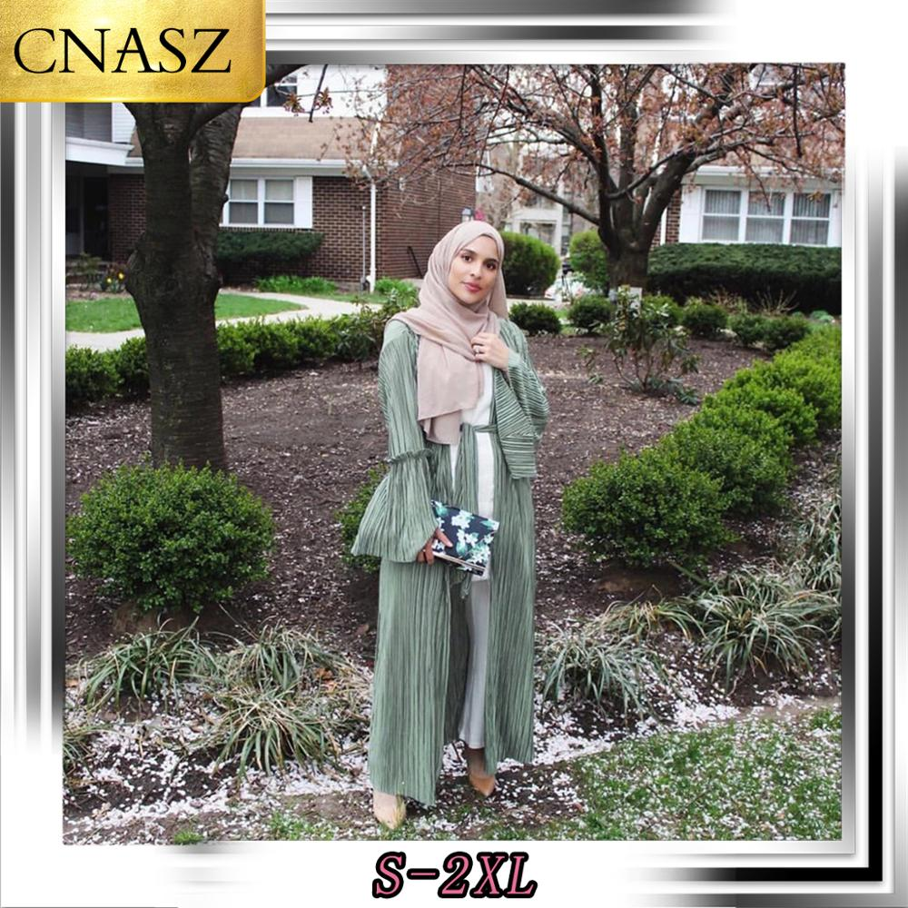 Elegant Muslim Women's 2019 Autumn New Fashion Pleated Trumpet Sleeve Dubai Cardigan Robe Islamic Bangladesh Abaya Turkish Robe