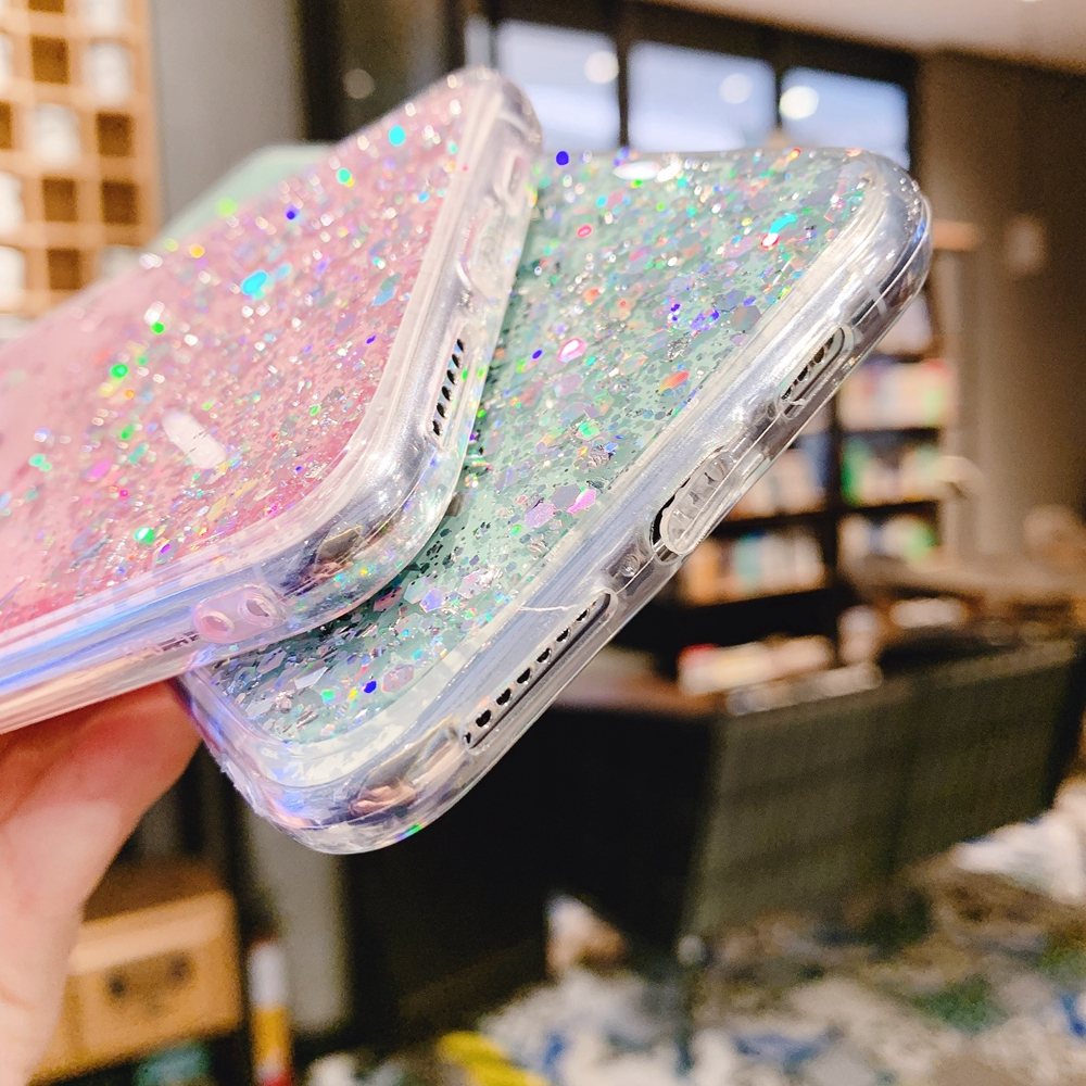 H3319da26c00146efa1ec50d23b397128c - Solid quicks Case For iphone 11 8 7 Plus 6 6s Glitter Bling Sequins Epoxy Star Case For iphone 11 Pro MAX X XR XS Soft TPU Cover