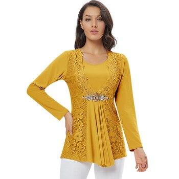 YTL Ladies Golden Diamond Waist Decoration Slim Tunic Tops Casual Party Long Sleeve Women Elegant Lace Floral Blouse Shirt H025G 4