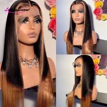 #1B Blonde Highlight Colored Lace Front Wigs Pre Plucked Brazilian Remy Straiight 13x4 Lace Front Human Hair Wigs 180 Density