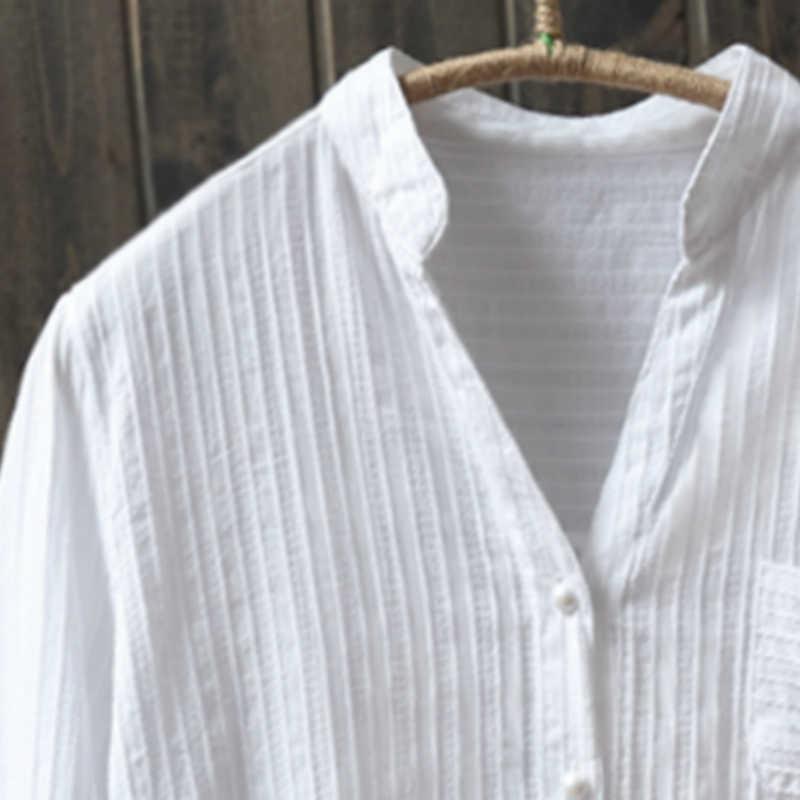 100% coton Womem blanc chemises 2020 été nouveau col en v décontracté à manches longues bureau dame blanc dessus de chemise qualité supérieure