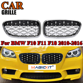 MagicKit A Pair 5 Series F10 Chrome Diamond M5 Style Front Kidney Grille Grill For BMW F10 F11 520i 523i 525i 530i 535i 10-16