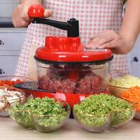 Procesador de alimentos Manual para cocina, potente batidora de huevos, picadora de carne, picadora de verduras, trituradora, cuchilla de acero inoxidable