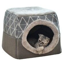Lit carré pliable pour chat, avec oreiller, nid chaud et doux, à double usage, grotte, sac de couchage, fournitures pour animaux de compagnie