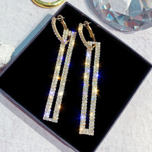 Peoniee Earrings Korean Silver Needle Fashion Exaggerated Long Full Female Crystal