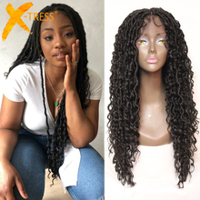 Synthetic Curly Braided Wigs For Black Women Black Colored Faux Locs Crochet Braids Mixed Water Wave Hair Wig With Baby Hair