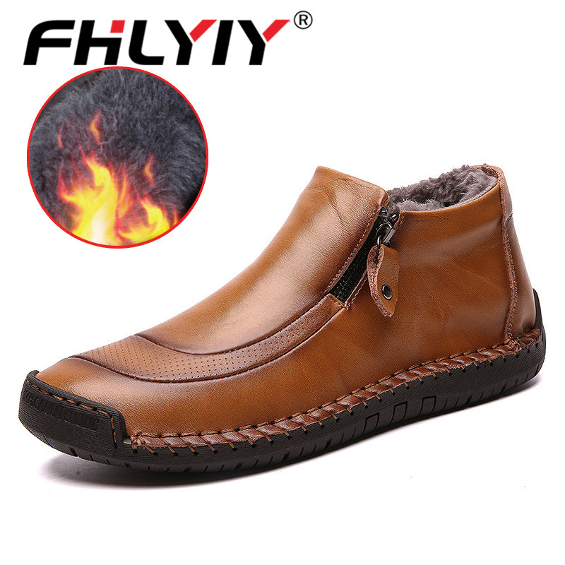 Fhlyiy Brand Fashion Men'S Leather Ankle Boots Winter Men Shoes Outdoor Plush Warm Mens Boots Leather New Black Shoes Zapatos De