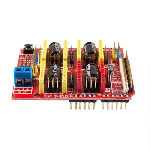 CNC V3 シールド + UNO R3 Arduino の互換ボード + 4x TI DRV8825 StepStick ステッピングドライバ赤 + パープル