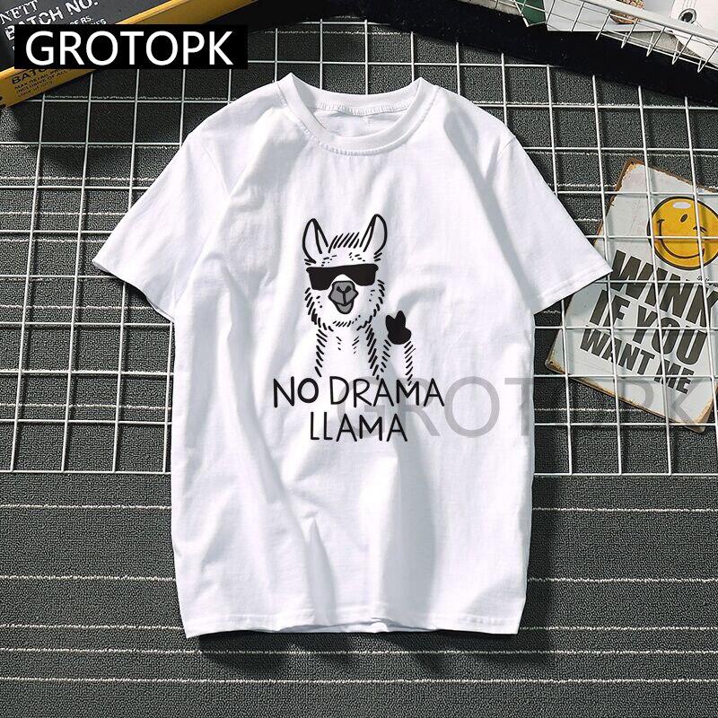 Vintage Alpacas Prints Spoof T-shirts For Men/women Unisex Harajuku Tops Kawaii No Drama Llama Streetwear 90s Aesthetic T Shirt
