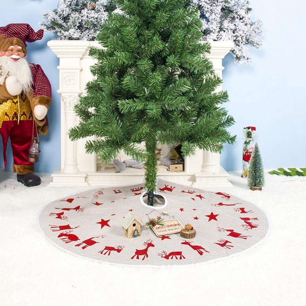 New Christmas Tree Skirt 100cm Fabric Elk Print Christmas Tree Foot Cover Carpet Mat For Home New Year Christmas Decoration A10