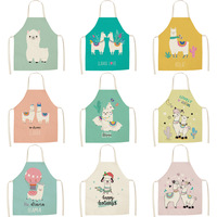 2019 New Style Cute Alpaca Series Cotton Linen Apron Digital Printing Wql0142|Oversleeves| |  -