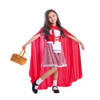 Girls Bright Red Cheery Little Red Riding Hood Sweet Storybook Character Halloween Costume For Your Little Kid Forest Adventure halloween little red riding hood costume sexy women storybook hen party fantasia fancy dress