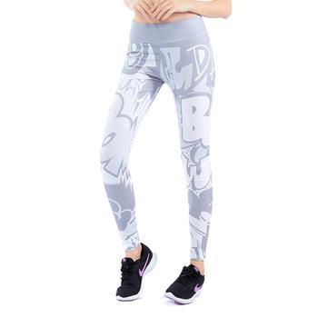 2019 New Comic Words Printing Leggings Put Hip Fold Elastic High Waist Legging Breathable Slim Pants 4