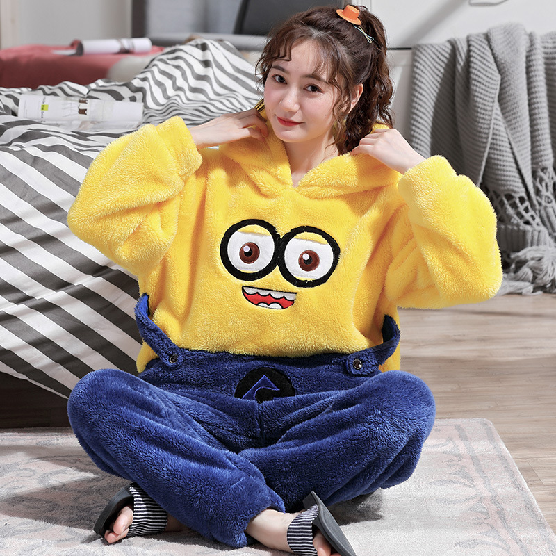 Winter Coral Velvet Pajamas Set Long-sleeved Pajamas Cartoon Flannel Warm Plus Velvet Thickening Women's Home Wear