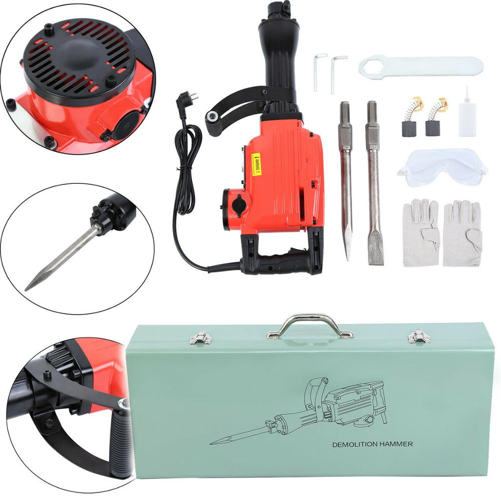 1850W Electric Jack Hammer Demolition Braker Non-slip Sweat-resistant Handle