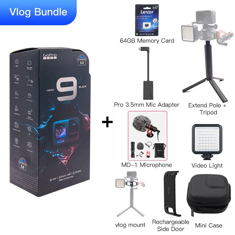 GoPro HERO 9 czarna kamera podwodna 4K z kolorowym ekranem przednim, kamera sportowa 20MP zdjęcia, przekaz na żywo Go Pro HERO 9